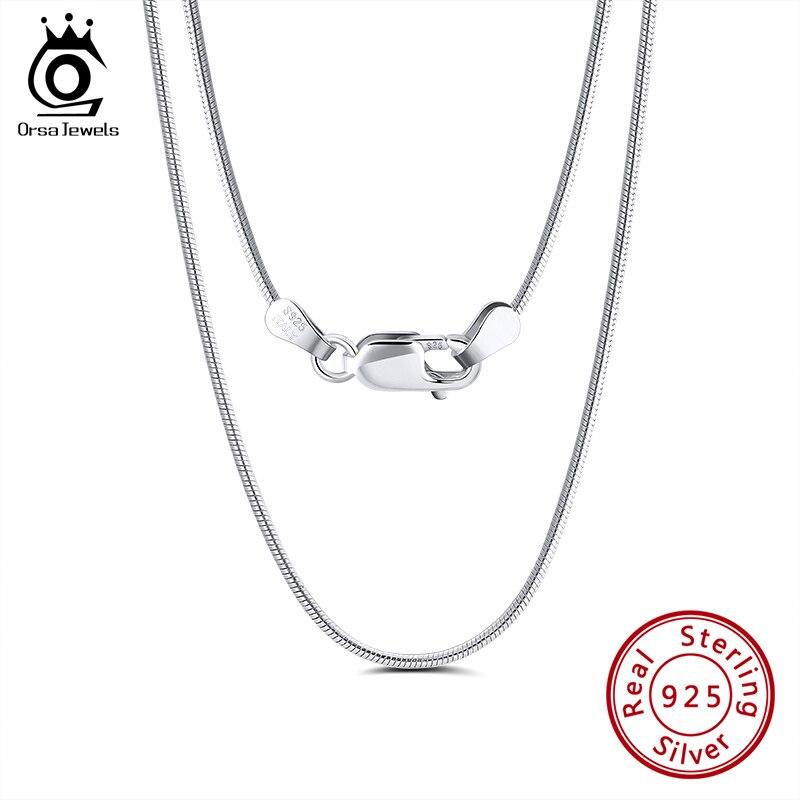 ORSA JEWELS, collar italiano de Plata de Ley 925 de 2,0mm, cadena redonda de serpiente, cadenas de cuello de plata para hombre para colgante, joyería 925 SC31