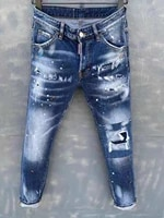 2021 new dsquared2 menswomens ripped jeans fashion washed frayed patch paint made old stretch pants dsq2 025