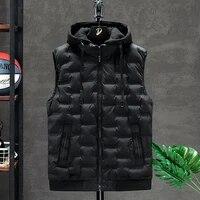 2021 hot selling new mens winter vest down vest men casual waistcoat sleeveless jackets men hooded vest