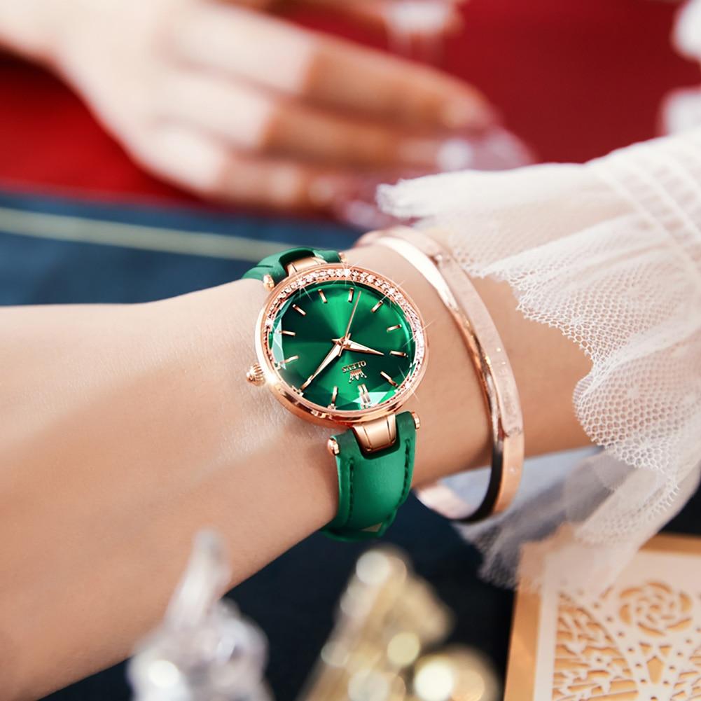 OLEVS NEW Japan Quartz Malachite Dial Diamond Circle Luxury Ladies Watch Leather Strap Lmported Movement Waterproof Watch Set enlarge