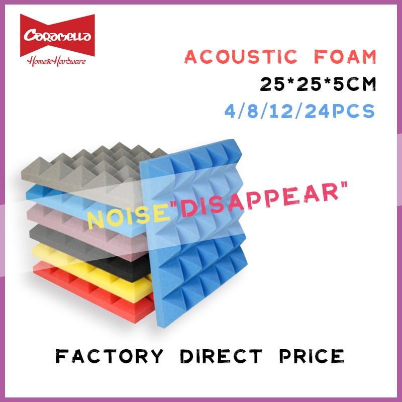 250x250x50mm 8/12/24pcs Studio Acoustic Soundproof Foam Pyramid Sound Absorption Treatment Panel Til