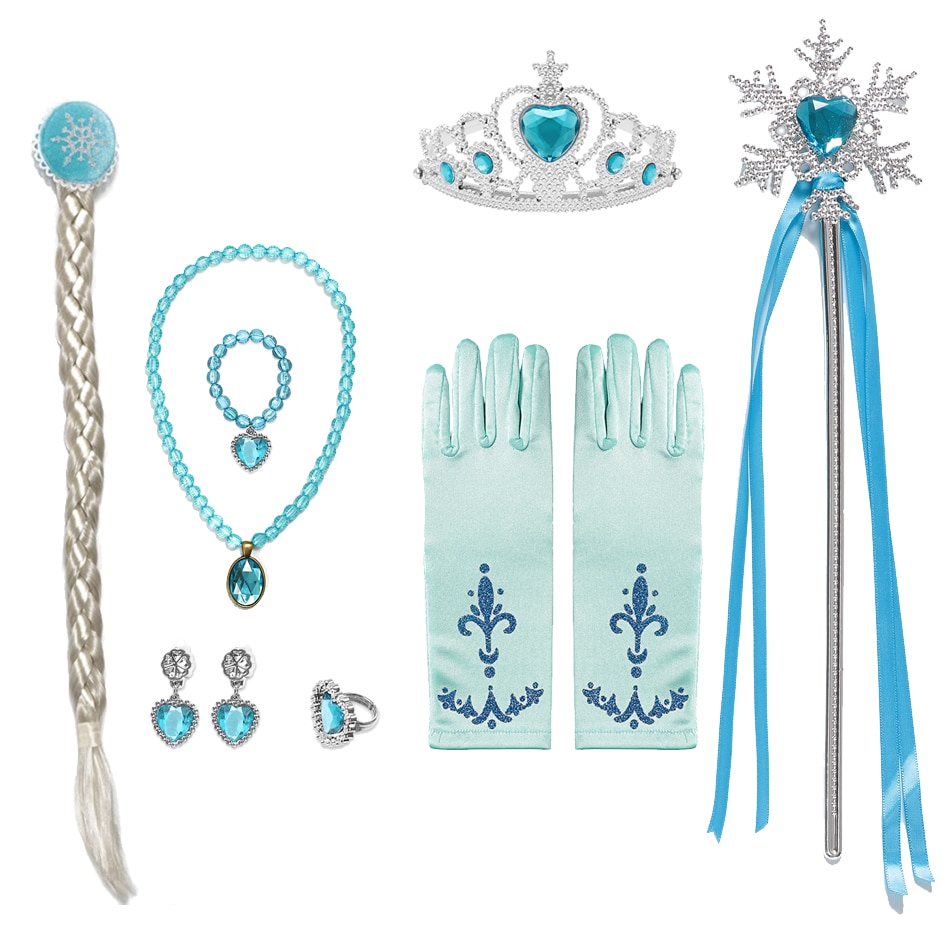 Girls Elsa Accessories Elsa Wig Braid for Princess Dress Clothing Cosplay Snow Queen 2 Gloves Wand Crown Jewelry Set