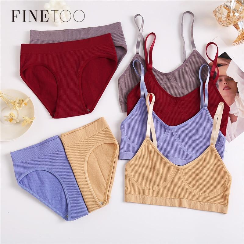 FINETOO Sexy Women Bra Panties Set Sports Bra Seamless Underwear Stretch Brief Panty Bralette Crop Top Fitness Girl Lingerie Set