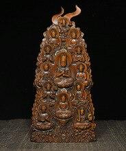 Noël bouddhisme chinois buis bois Mahavairocana Shakyamuni 13 bouddha Statue sanctuaire nouvel an
