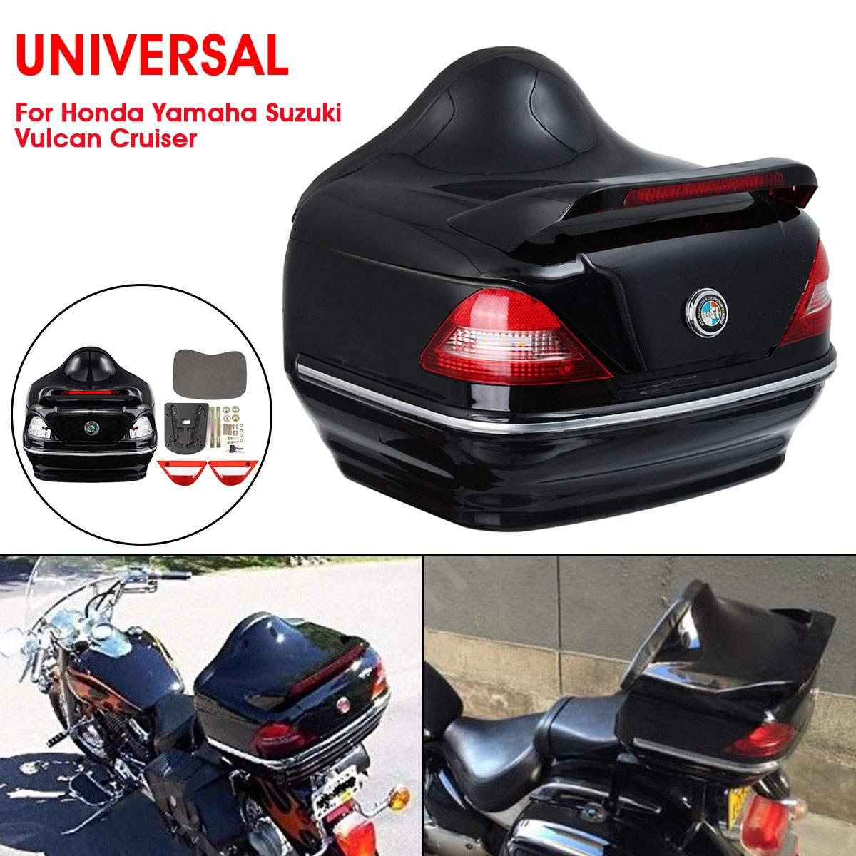 Maleta trasera 28L para motocicleta, caja de herramientas para casco, alforja para almacenamiento de equipaje con indicador de luz trasera Universal para Honda/Yamaha/Suzuki