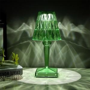 Nordic Italian USB Touch Led Table Lamp Green Crystal Desk Lamp Sensor Bar Table Light Indoor Restaurant Romantic Light Fixture