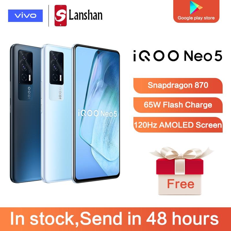 Перейти на Алиэкспресс и купить Оригинальный vivo IQOO Neo5 5G тройной Камера устройство, док-станция Qualcomm Snapdragon 870 6,62 дюймAMOLED телефона 4400 мАч батарея 66WFlashCharge Android11