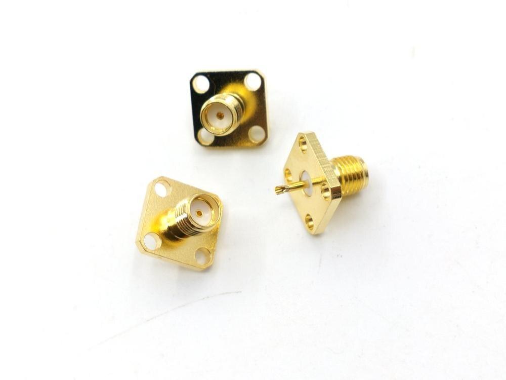 موصل RF محوري ، 100 قطعة ، أنثى SMA نحاسية ، حامل لوحة ، 4 فتحات ، محول محوري