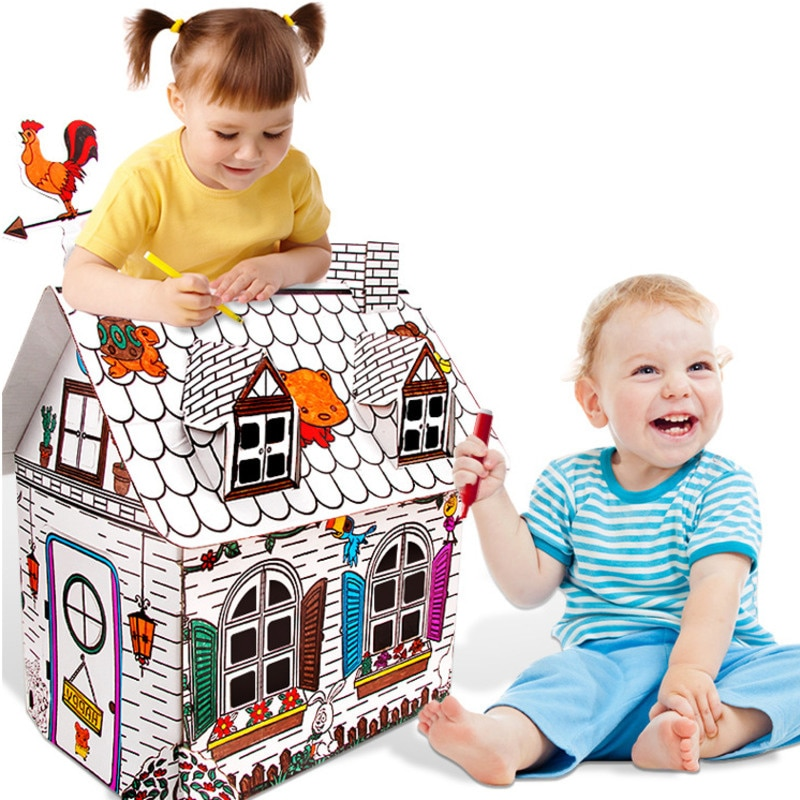 Childen Drawing Toys Diy Coloured Graffiti House With 6 Color Pen Creative Hand-Painted Crafts Kids Early Education
