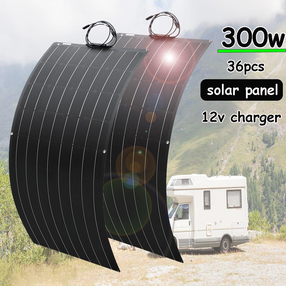 لوحة طاقة شمسية 300 واط 150 واط 12 فولت عدة نظام مرنة شاحن بالطاقة الشمسية ل 12 فولت/24 فولت سيارة تعمل بالبطارية قارب التلفزيون الثلاجة المنزل التخ...