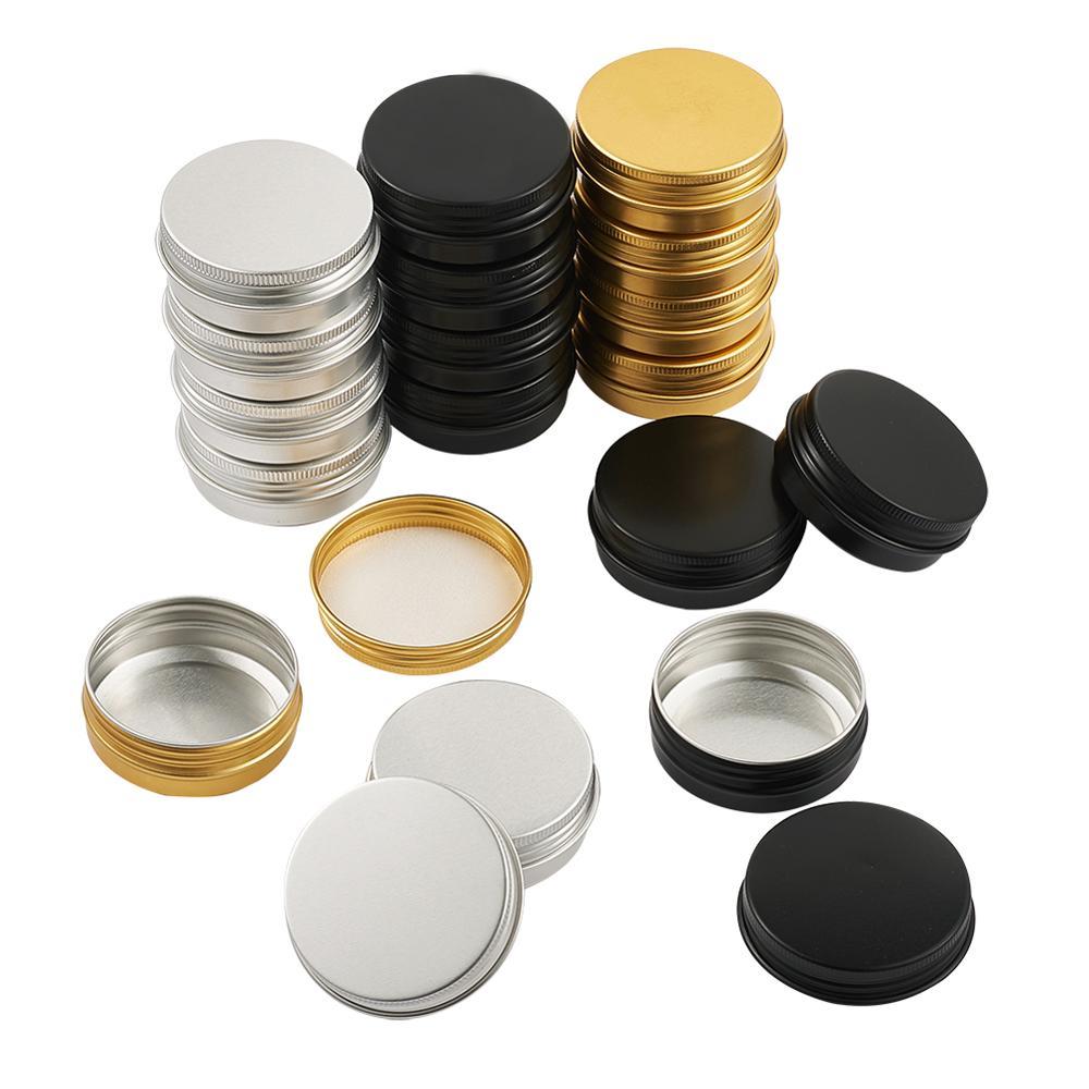 30 unids/set caja de joyería de aluminio botellas de viaje envase cosmético tarro de crema vacío olla con tapa para maquillaje pomada forma de columna