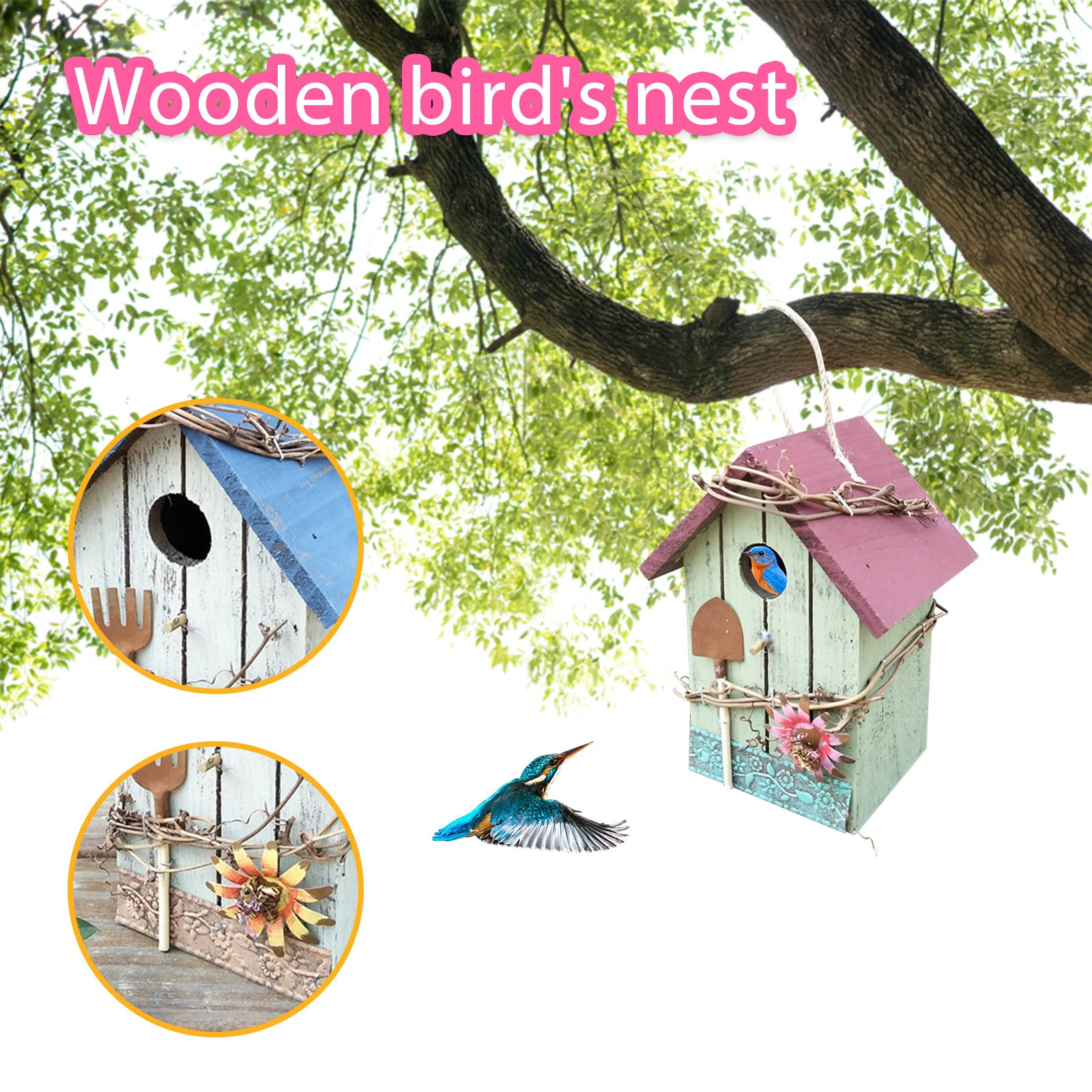 Nido de Pájaro colgante Para decoración del hogar, jaula de madera Para...
