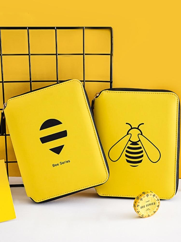 B6 Notebook Spiral Journal with Pen Diary Bee Agenda Planner Oragnizer Line Notepad Zipper Note Book Traveler Daily Handbook Set