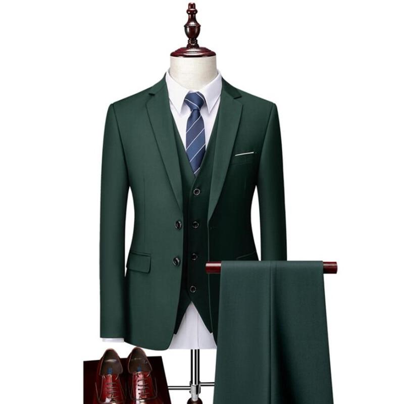 Пиджак мужской из чистого хлопка, деловой Блейзер, облегающий костюм-тройка, смокинг для жениха, 12 цветов (пиджак, жилет, брюки)