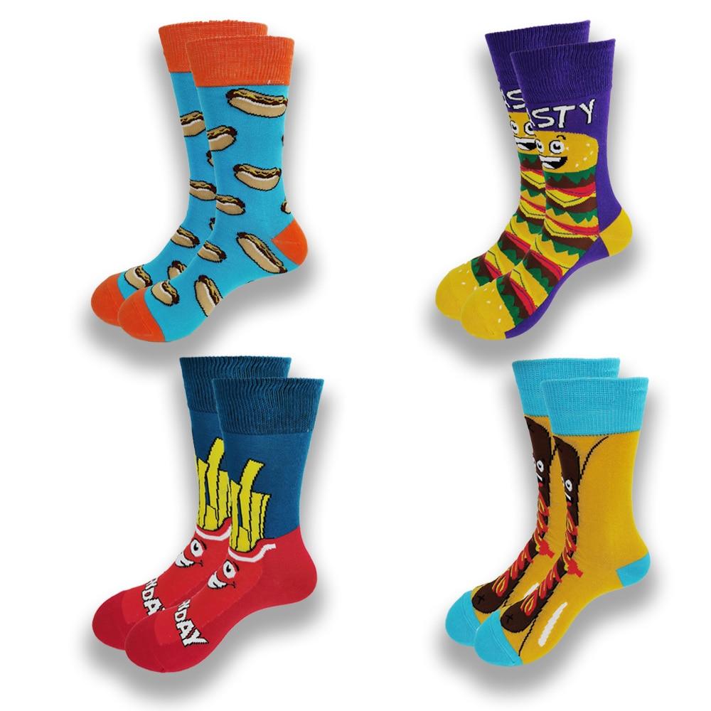 Пара мужских и женских мужских носков, Забавные милые носки для скейтборда с фруктами, гамбургерами, яйцами, печеньем, пончиками, едой
