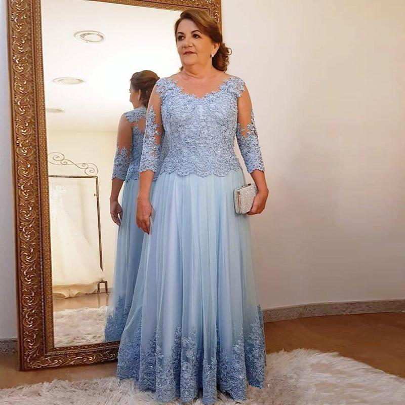 Vestidos de noiva plus size, vestido de mãe da noiva a-linha de mangas compridas de tule, apliques de renda, vestido longo para casamento