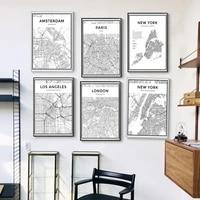 Affiche en toile de carte de ville du monde en noir et blanc  peinture murale imprimee  style nordique  minimaliste  decor de maison