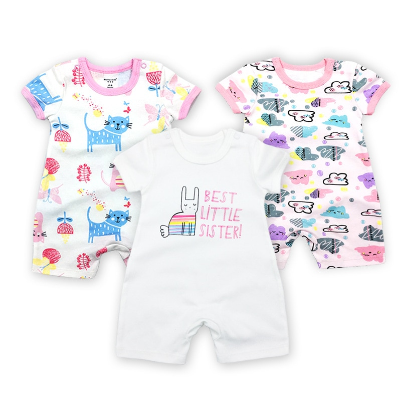 Baby Newborn Rompers Girl Romper Short Sleeve Baby One Piece Cotton Sleepsuit Toddler Clothes Cartoon Summer Unseix