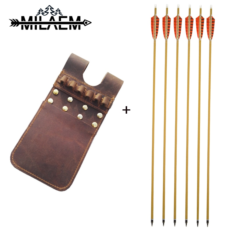 6Pcs Archery Arrow with Arrow Quiver 500 Spine ID6.2mm Real Feather Arrow Leather Arrow Quiver Bow and Arrow Hunting Accessories
