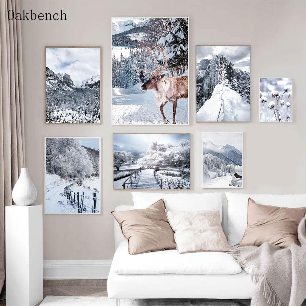Картина на холсте с изображением природного снега и гор, постер с лесом, картины с оленями, Художественная печать, настенные картины в сканд...
