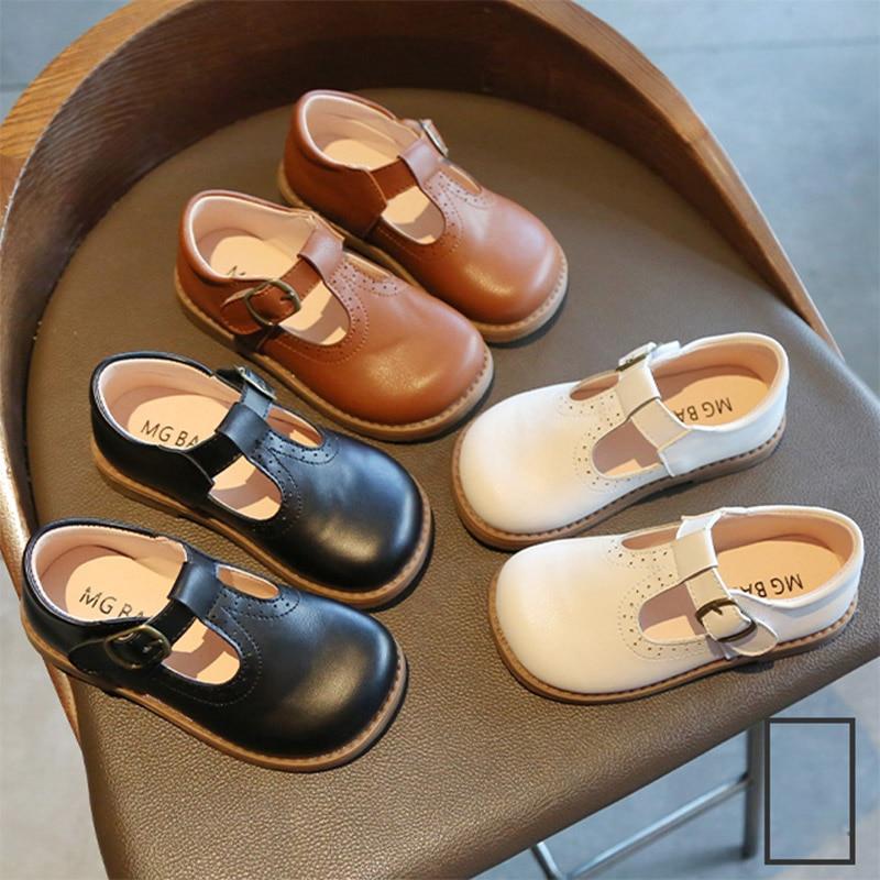 Туфли детские кожаные на платформе, с Т образным ремешком, туфли для принцесс, с пряжкой, обувь для мальчиков и девочек, черные, коричневые|Кожаная обувь| | АлиЭкспресс