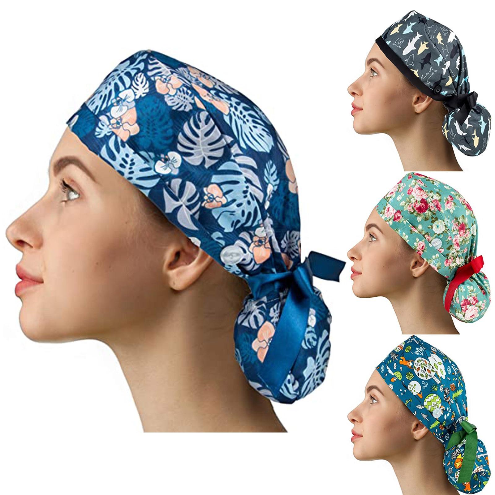 Beauty salon print work hats Unisex Elastic Cotton Pet grooming caps Health services Cap unisex scru