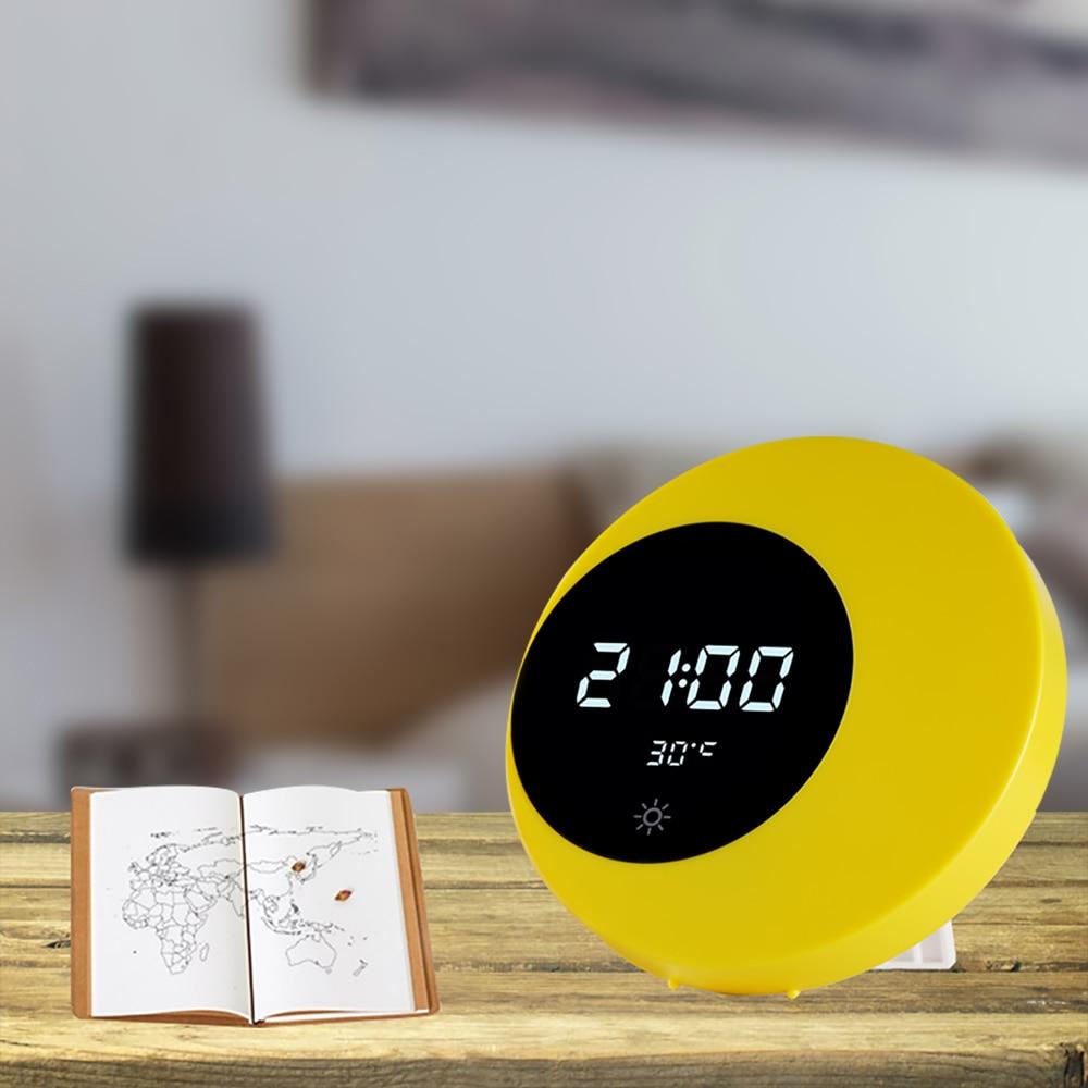Reloj de pared luna creciente reloj multifuncional recargable media luna lámpara con Interruptor táctil 4 canciones dormitorio sala de estar regalo