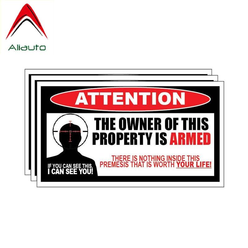 Aliauto 3 X Engraçado Etiqueta Do Carro Personalidade O Dono desta Propriedade É Armado Acessórios PVC Decalque para Mercedes Honda,16cm * 9cm