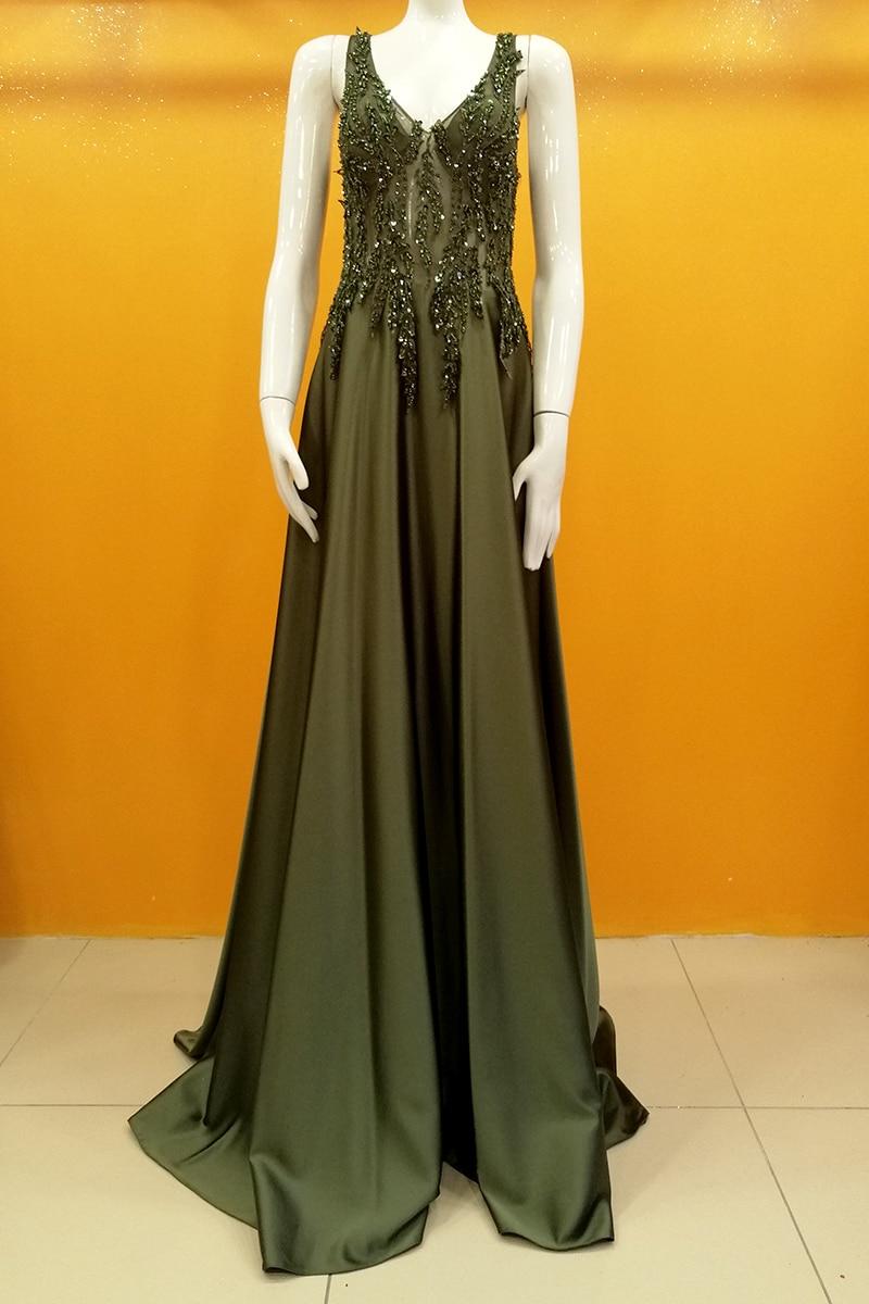 Vestido de noche enjoyado de cupón superior de satén-Henna verde