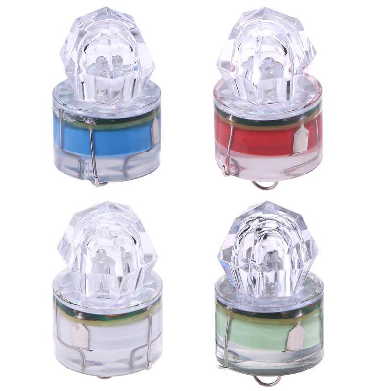 Cebo de pesca luz Mini LED diamante activado a prueba de agua caída profunda brillante señuelo de peces luz intermitente lámpara pesca 45*25*25mm