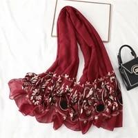 2021 fashion cotton scarf women paisley embroidery bandana muslim headscarves hijab shawl wrap soft female foulard 18090cm