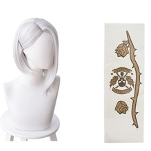 Game OW Ashe wig hair With Tattoo sticker Ashe Cosplay White Wigs costume Accessories Halloween Carn