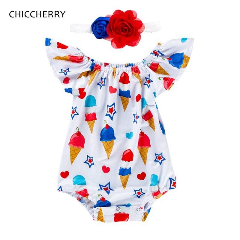 Conjunto de ropa de verano para niña americana del 4 de julio, Mono para niños, diadema, ropa para recién nacidos y niños