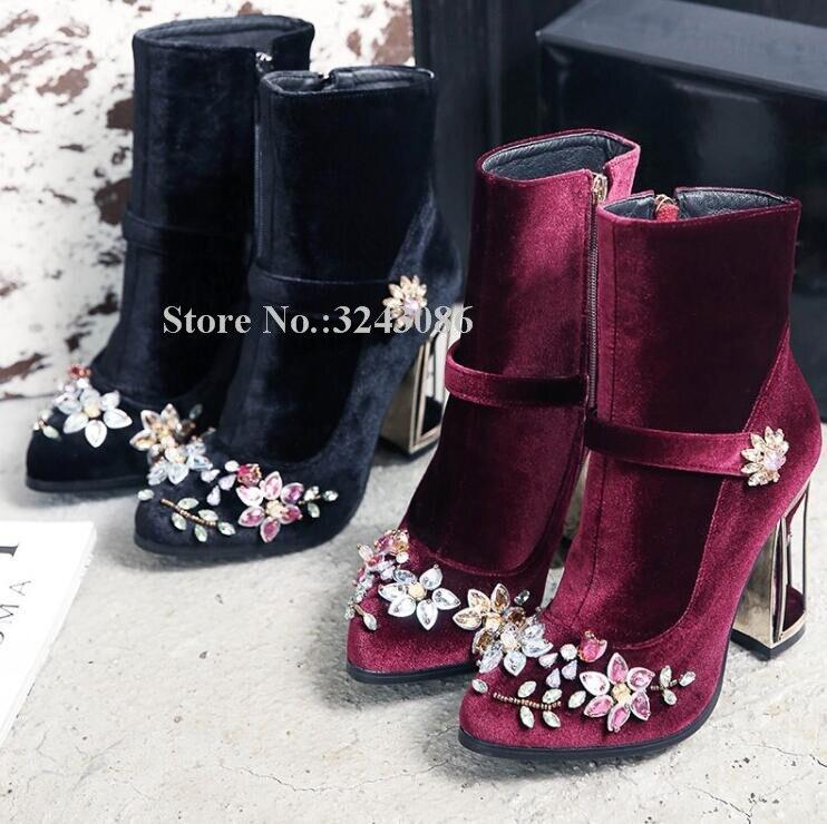 Nuevo terciopelo jaula de pájaros talón botines con cristales mujeres Cadena de cuentas tacón estilo extraño de diamantes de imitación botas cortas dama vino rojo botines