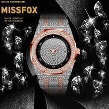 2020 mode hommes or Rose montres MISSFOX luxe en acier diamant Quartz horloge mâle Saat plein diamants montre Relogio Masculino