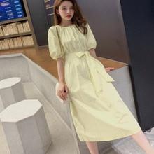 Coréen 2020 nouveau été femmes mode longue robe demi manches o-cou jaune tenue décontractée élégant fête Style robe Ropa Mujer