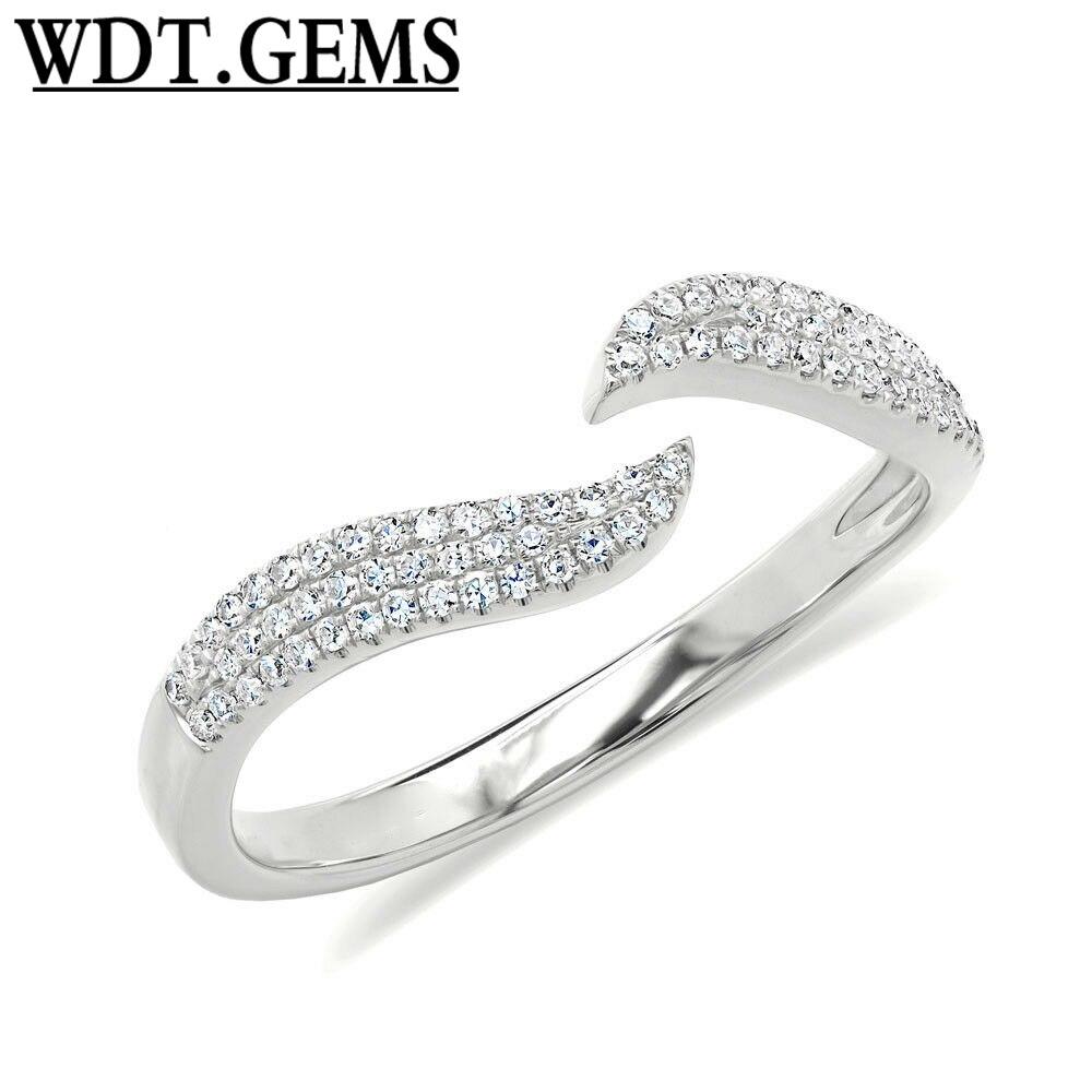 0,17 CT 10K oro rosa Diamante Real pavimentar garra abierta ola minimalista espacio anillo