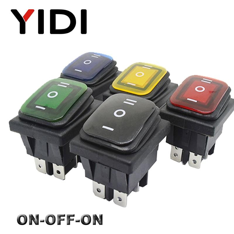 Interruptor basculante KCD4-203 resistente al agua 16A 250VAC 30x22 6 pines DPDT ON OFF ON 12V 220V rojo verde LED interruptor basculante ligero