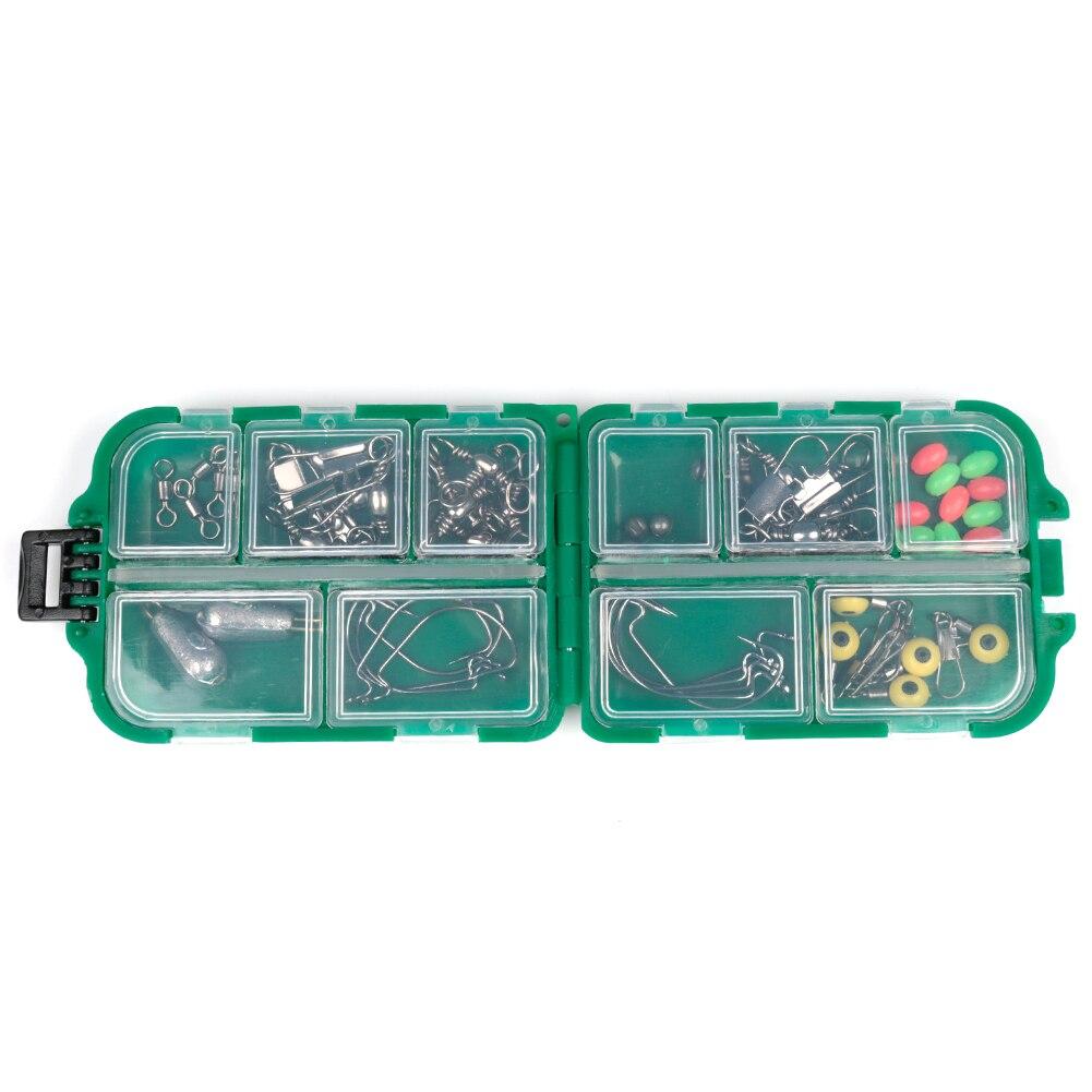 52 unids/set pesca caja de almacenamiento de pesca luminosa de plomo gancho conector gira fotos equipos de pesca