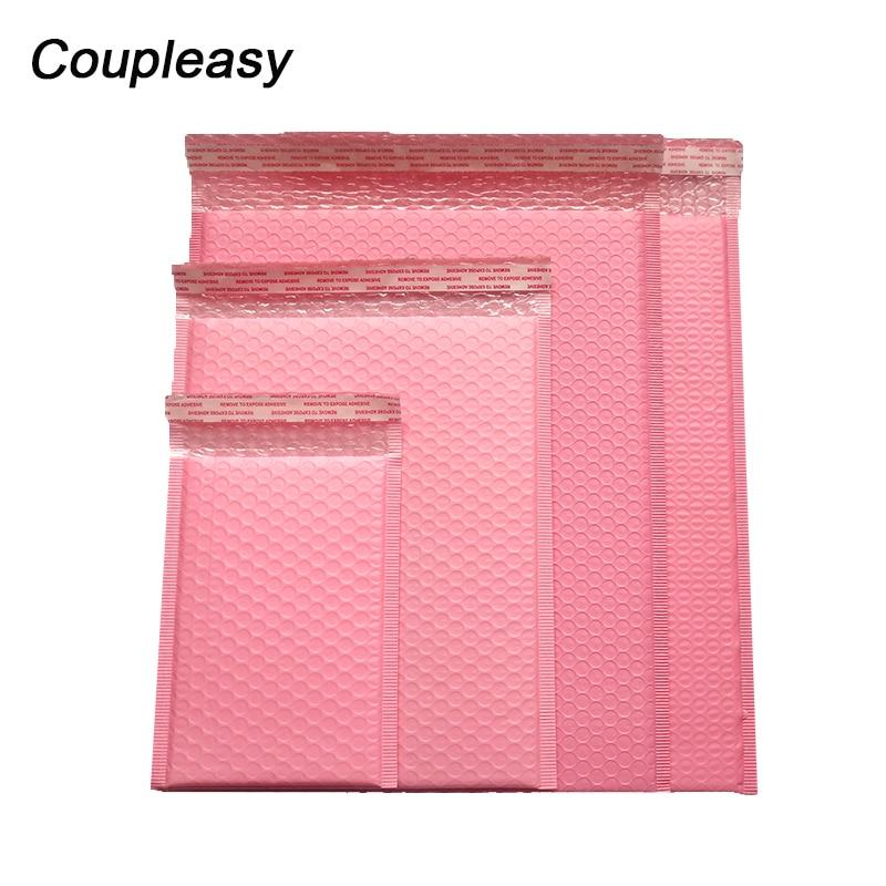 50 unids/lote de bolsas de embalaje de correo rosa con burbujas de polietileno, bolsas de mensajería acolchadas autoselladas, bolsas de envío impermeables, bolsas de correo