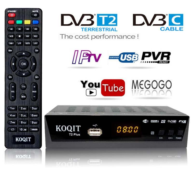 HD Free Dvb T2 ТВ-тюнер DVB T2 DVB-C Dvb-t2-тюнер цифровой ТВ-бокс H.264 приемник Wifi USB IP TV M3u Youtube русский t2 телеприставка