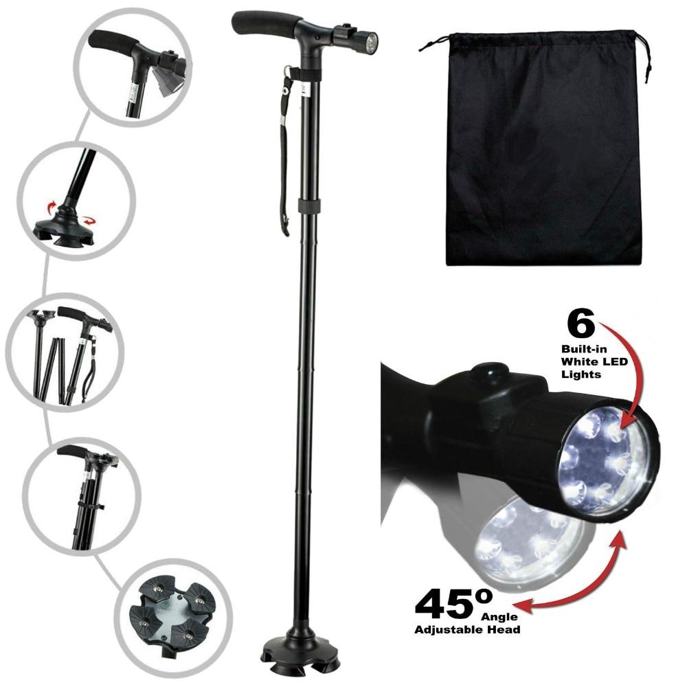 LED light walking stick T-handle walking cane for elderly people folding trekking crutches hiking poles telescopic baton