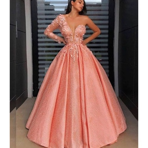 lace prom dresses 2021 sweetheart neckline one shoulder long sleeve lace evening dress coral party dress