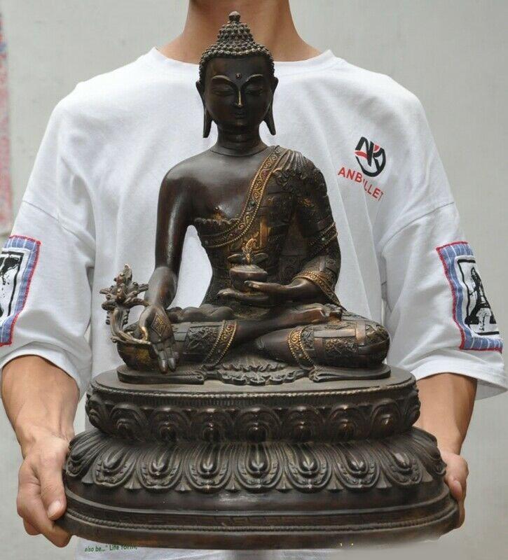 """Decoración de la boda 18 """"tibet, budismo bronce incrustaciones gema Menla del Buda de la medicina bata de médico Dios estatua"""