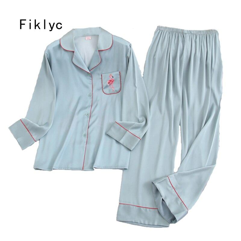 Fiklyc underwear long sleeve 2020 spring womwn pejamas pijamas invierno mujer silk pijama flamingo satin pajamas sets conjuntos