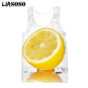 LIASOSO Summer 3D Print Harajuku Fruit Lemon Yellow  Diy Vest Men Women Casual Sleeveless Shirt Fitness Streetwear Tops