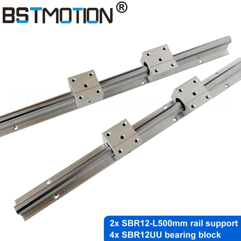 SBR linear rail support 12mm SBR12 500mm linear guide with SBR12UU blocks for CNC parts