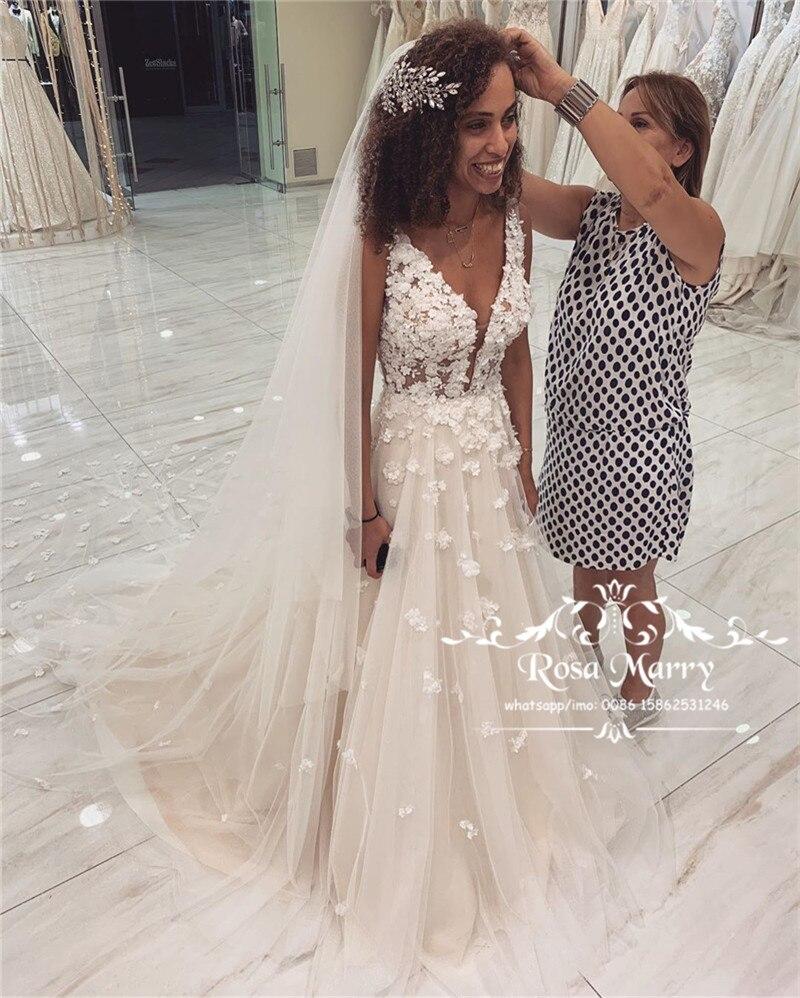 فستان زفاف برقبة على شكل V ، مقاس كبير ، زهور ثلاثية الأبعاد ، هيبي ، فستان شاطئ ريفي ، على الطراز اليوناني ، A Line ، مجموعة 2020