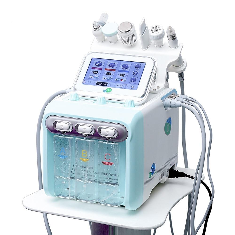 ماكينة تنظيف الوجه 2021 مع 6 مقابض صغيرة فقاعة الوجه فوهة/ قناع الأكسجين H2O2 لرفع الوجه المضادة للتجاعيد تجديد الجلد