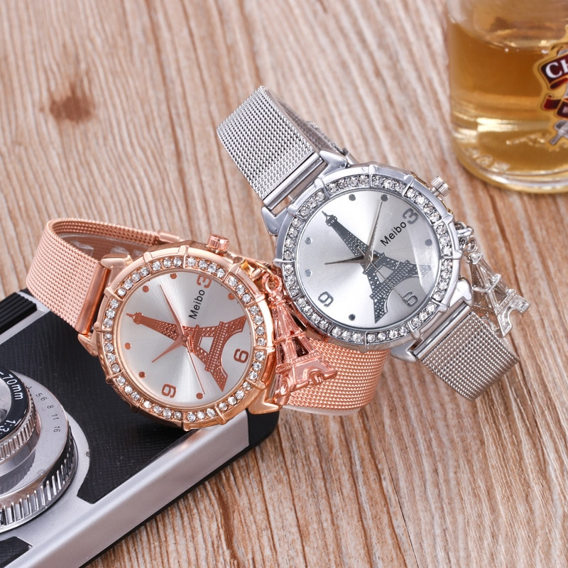 YUNAO Fashion Watch Women's Hot Style Watch Women's Paris Tower Pendant Alloy Mesh Belt Quartz Women's Watch Diamond Hot Sale enlarge